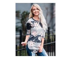 Contrast Color Split Hem Shirt Blouse Tops