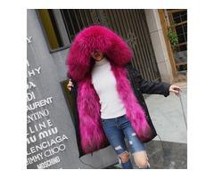 TREND-Setter Winter Fur Parka Long Coat Women Coat Real Raccoon Fur Jacket Luxury Large Detacha
