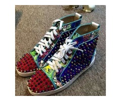 100% Real Photos Colorful Spike Rivets Studded Red Bottom Casual Shoes for Men and Women,Luxury Bran