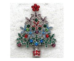12pcs/lot Wholesale Colorful Crystal Rhinestone Christmas tree Pin Brooch Christmas gifts Jewelry Fa