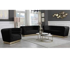 Greasy Contemporary Living Room Set in Black | Get Furniture