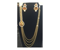 Stunning Gold Plated Multi String Necklace Set For Wedding Events
