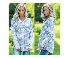 V Neck Stripe Splice Long Sleeve Floral Printed Pocket Tunic Shirt Tops Blouse