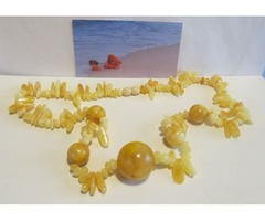 Natural Baltic Amber Necklace yellow opaque with round beads formed amber