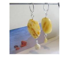 Natural Baltic Genuine Amber huge Earrings yellow egg yolk opaque