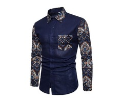 Tidebuy Floral Patchwork Mens Casual Shirt with Pocket