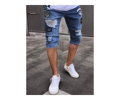 Tidebuy Hole Worn Mens Ripped Short Jeans