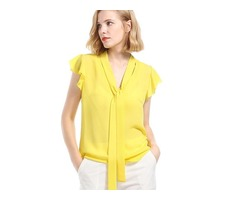 Tie Neck Plain Cape Sleeve Womens Blouse