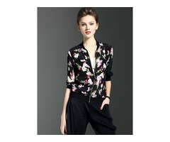 Stylish Thin Plan Print Jacket