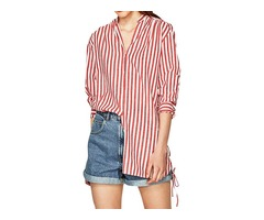 Women Striped Long Sleeve Blouse Side Lace Up Shirt