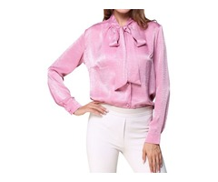 Women's Stand Collar Bowknot Lace Up Long Sleeve Solid Color Single-Breasted Shirt