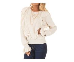 Women's Girls Ruffled Stringy SelvedgeFlare Sleeve Cute Shirt Blouse Top