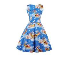 Fashion Elegant Pullover Round Neck Sleeveless Christmas Print Maxi Dress
