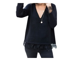 Fashion Pullover Deep V Neck Long Sleeve Solid Color Loose Fit T Shirt Top With Lace Inserts