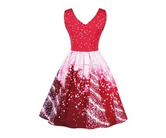 Women Sleeveless V Neck Multi-Pattern Christmas Floral Print Fit and Flare Dress