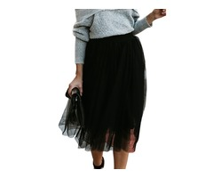 Solid Color Elegant Multi Layers Elastic Waist Long Maxi Skirt