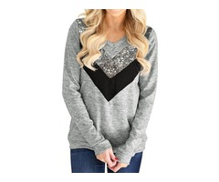 Women's V Neck Long Sleeve Pullover Sequin Splice Design Casual Shirt