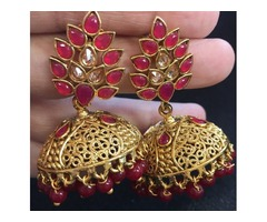 Attractive and Gorgeous Gold plated Red Jhumka Earrings