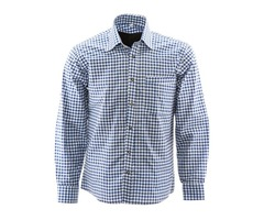 Blue/white Trachten Shirt, Bavarian Trachten Shirt