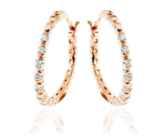 Brilliant Bezel Set White CZ 925 Silver Rose Gold Plated Hoop Earring