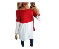 Women's Colorblock Paint Off Shoulder Long Sleeve Mixed Color Pullover Casual Top