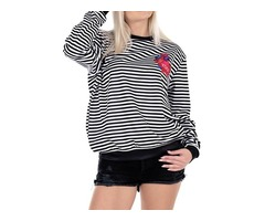 Long Sleeve Crew Neck Heart You Print Stripe Sweatshirt Pullover Top