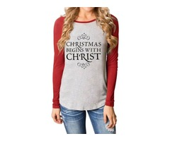 Round Neck Long Sleeve Christmas Letter Print Informal Regular Fit Tops Shirt Blouses | free-classifieds-usa.com