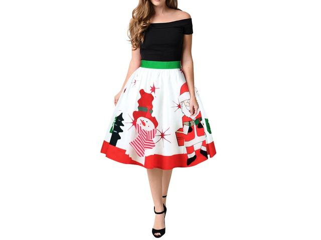 Women Christmas Series Printing Vintage Skirt Winter Zipper Dress   free-classifieds-usa.com