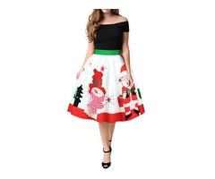 Women Christmas Series Printing Vintage Skirt Winter Zipper Dress