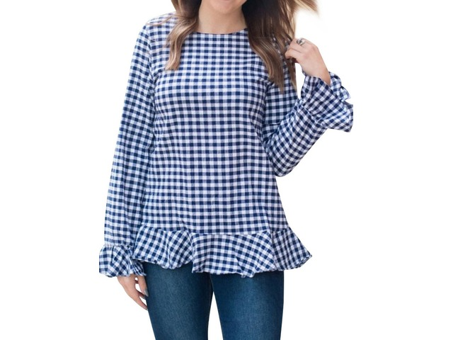 Bell Long Sleeve Crew Neck Pleated Hem Plaid Print Shirt Blouse Top | free-classifieds-usa.com