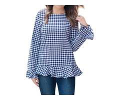 Bell Long Sleeve Crew Neck Pleated Hem Plaid Print Shirt Blouse Top