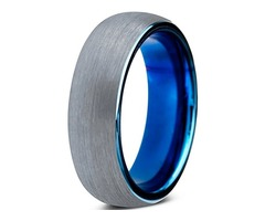 6mm - Unisex, Women's or Men's Tungsten Wedding Band. Gray and Blue Ring. Round Domed Brushed. Comfo