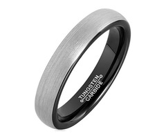 4mm - Women's Tungsten Wedding Bands. Gray and Black Plated Comfort Fit Brushed Ring