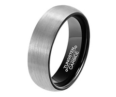 6mm - Unisex, Women's or Men's Tungsten Wedding Band. Gray and Black Plated Comfort Fit Brushed Ring