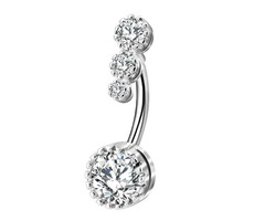 14G 316L Stainless Steel Double Crystal Heart Belly Button Ring