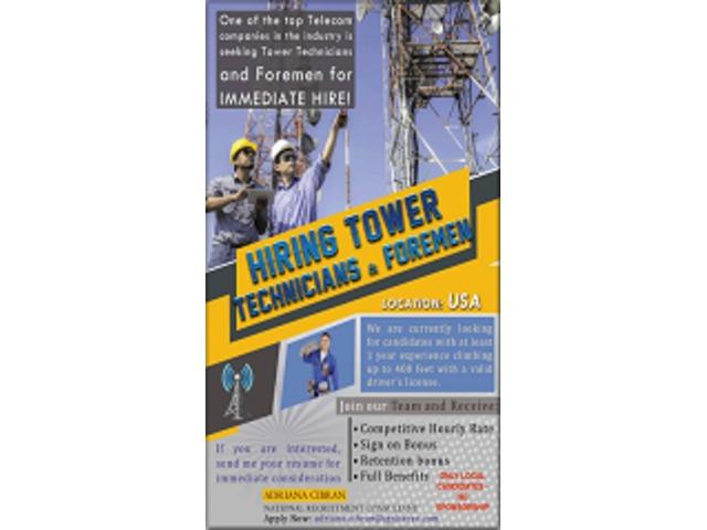 TOWER CLIMBER TECH. AND FOREMEN   free-classifieds-usa.com