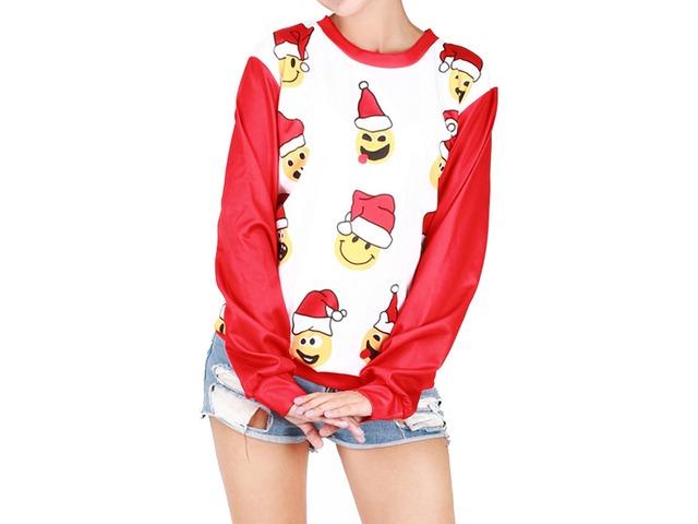 Crew Neck Long Sleeve Cute Christmas Pattern Print Sweatshirt Blouse | free-classifieds-usa.com