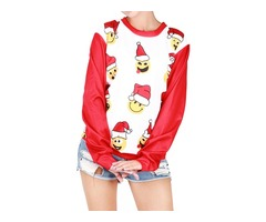 Crew Neck Long Sleeve Cute Christmas Pattern Print Sweatshirt Blouse
