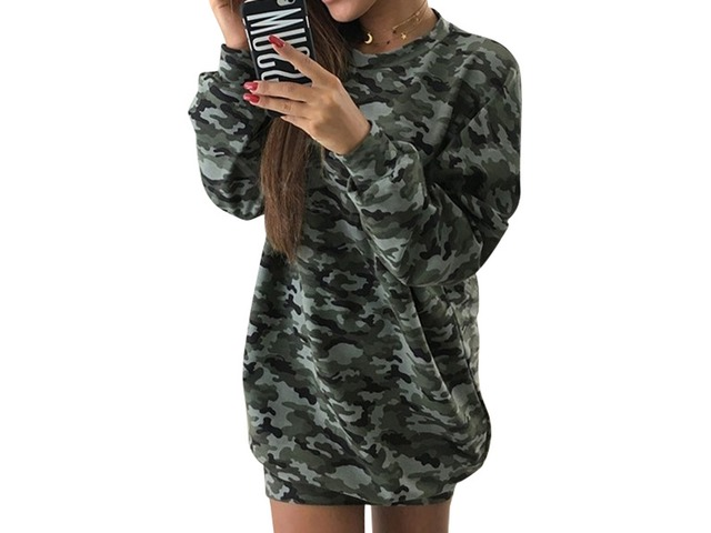 Casual Long Sleeve Crew Neck Pullover Camouflage Sweatshirt Dress | free-classifieds-usa.com