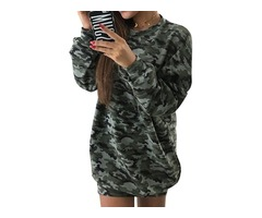 Casual Long Sleeve Crew Neck Pullover Camouflage Sweatshirt Dress