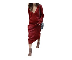 Casual Deep V Neck Long Sleeve Solid Color Knitted Long Maxi Dress | free-classifieds-usa.com