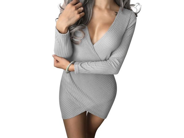 Sexy Wrap V Neck Long Sleeve Solid Color Bodycon Party Dress Pencil Dress   free-classifieds-usa.com