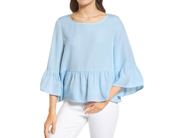 Solid Color Bell 3/4 Sleeve Round Neck Pleated Hem Shirt Blouse Top | free-classifieds-usa.com