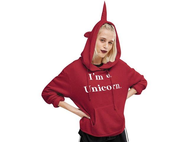 Fashion Cute I'm a Unicorn Letter Print Long Sleeve Hoodie Shirt Blouse Sweatshirt | free-classifieds-usa.com