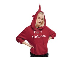 Fashion Cute I'm a Unicorn Letter Print Long Sleeve Hoodie Shirt Blouse Sweatshirt