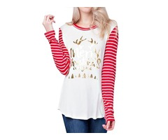 Round Neck Christmas Printed T-shirt Long Sleeve Tops