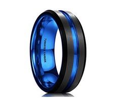 Unisex or Men's Tungsten Wedding Band. Black Matte Finish Tungsten Carbide Ring with Blue Beveled Ed