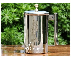 Shop for Exclusive Copper and Stainless Steel Jug with Floral Design