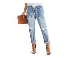New product hot sale denim distressed jeans women washed jeans