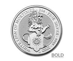 2020 Silver Great Britain Queen's Beast(The White Lion) -2 oz